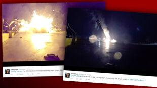 """Nagranie z """"lądowania"""" Falcon 9. Rakieta eksplodowała na barce"""