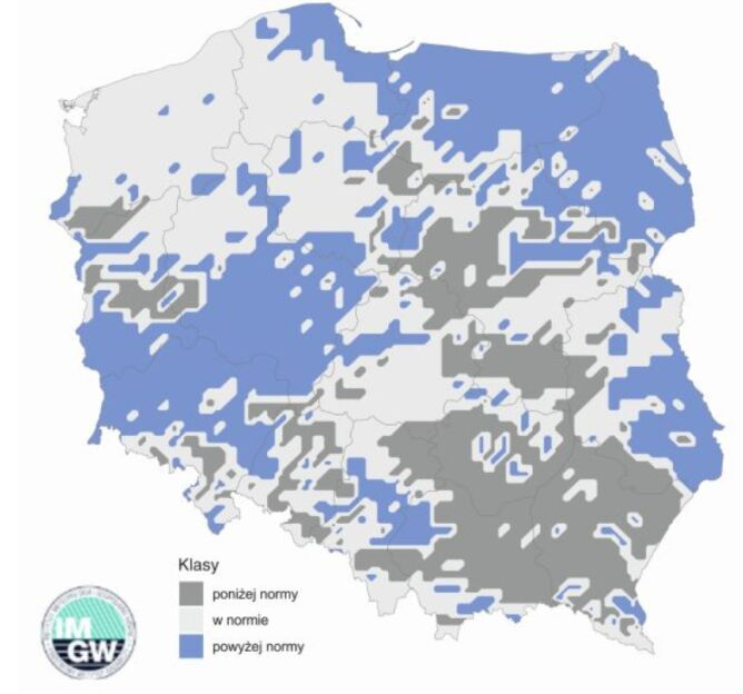 Najbardziej prawdopodobna klasa sumy opadów w sierpniu 2020 r. według modelu IMGW-PIB (IMGW)