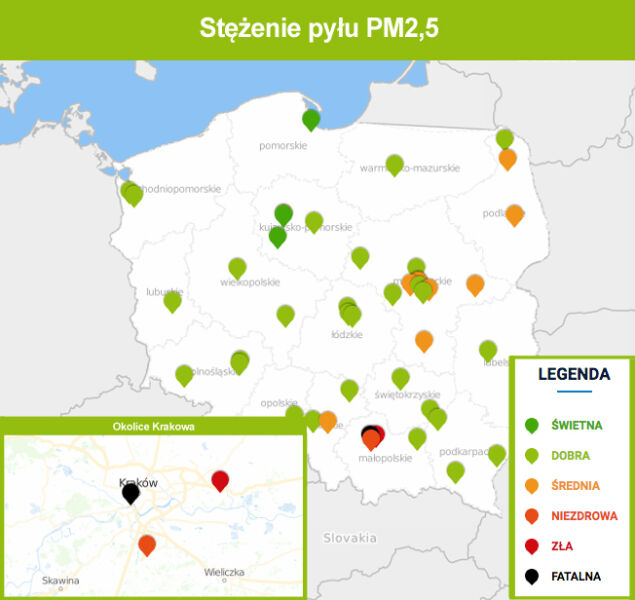 Stężenie pyłu PM2,5 o godz. 9.30