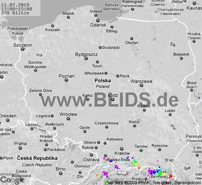 Ścieżka burz w godzinach 13.00-15.00 (blids.de)