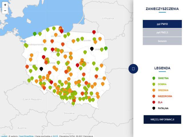 Stężenie pyłu PM10 o godzinie 20.30 (tvnmeteo.pl za GIOŚ)