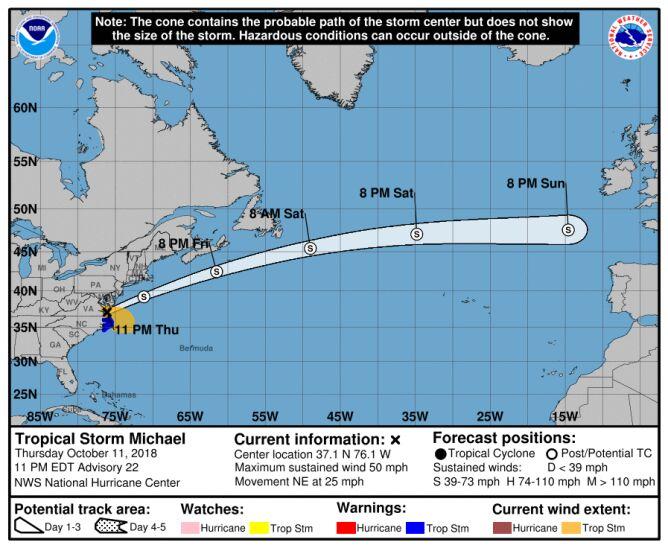 Prognozowana trasa przejścia burzy tropikalnej Michael (NHC NOAA)